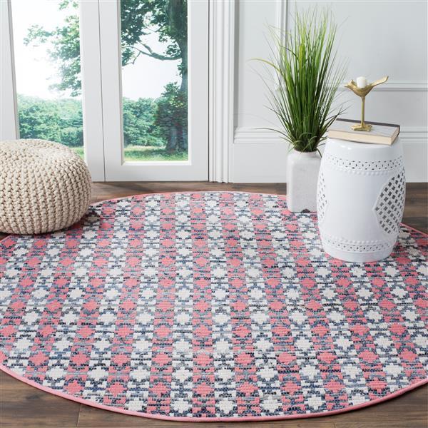Safavieh Montauk Stripe Rug - 4' x 4' - Cotton - Pink/Multi