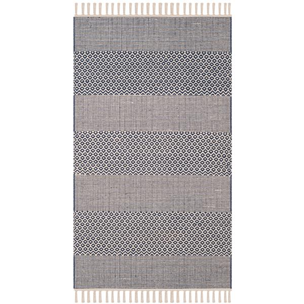 Safavieh Montauk Stripe Rug - 3' x 5' - Cotton - Ivory/Navy Blue