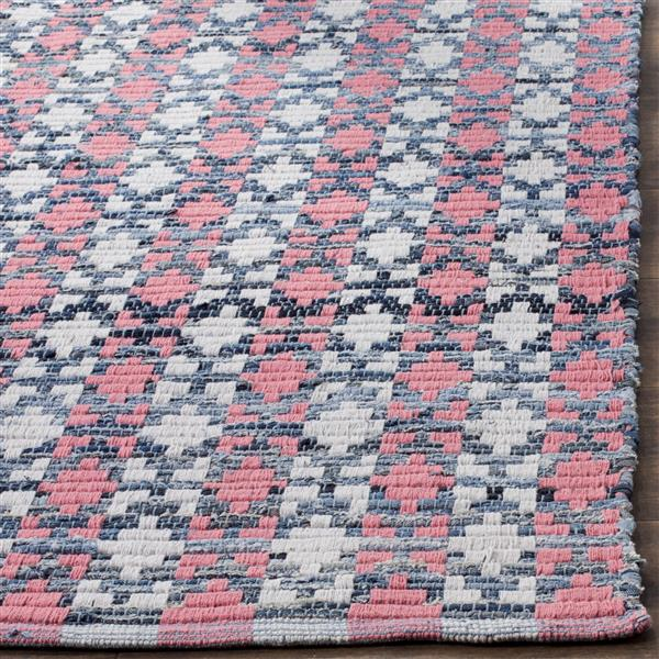 Safavieh Montauk Stripe Rug - 6' x 6' - Cotton - Coral/Multi