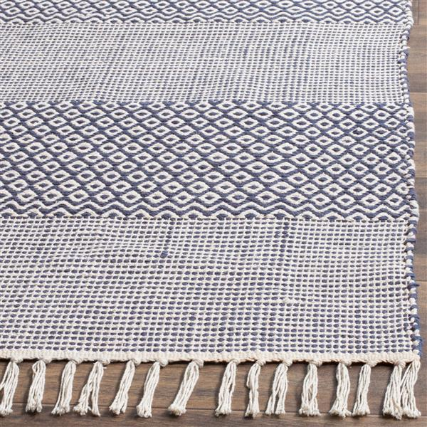 Safavieh Montauk Stripe Rug - 6' x 6' - Cotton - Ivory/Navy Blue