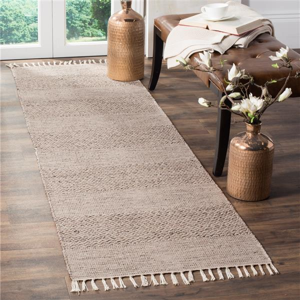 Safavieh Montauk Stripe Rug - 2.3' x 8' - Cotton - Ivory/Gray