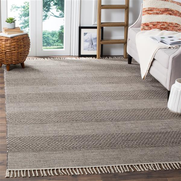 Safavieh Montauk Stripe Rug - 3' x 5' - Cotton - Ivory/Gray