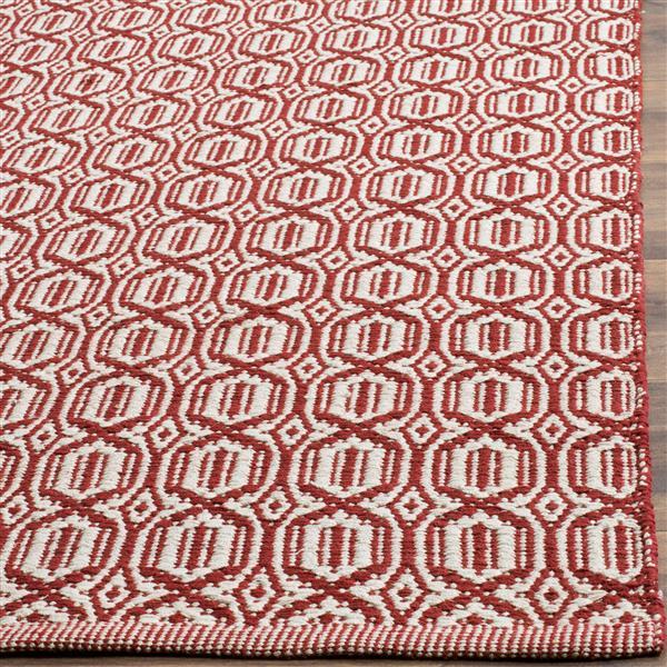Safavieh Montauk Geometric Rug - 4' x 6' - Cotton - Ivory/Red