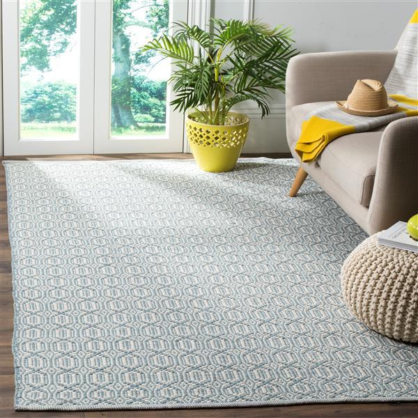 Safavieh Montauk Geometric Rug - 4' x 6' - Cotton - Ivory/Blue