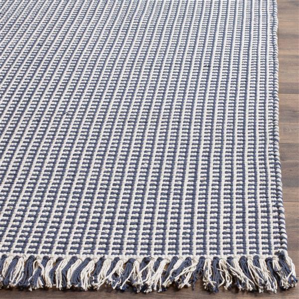 Safavieh Montauk Geometric Rug - 4' x 6' - Cotton - Ivory/Navy Blue