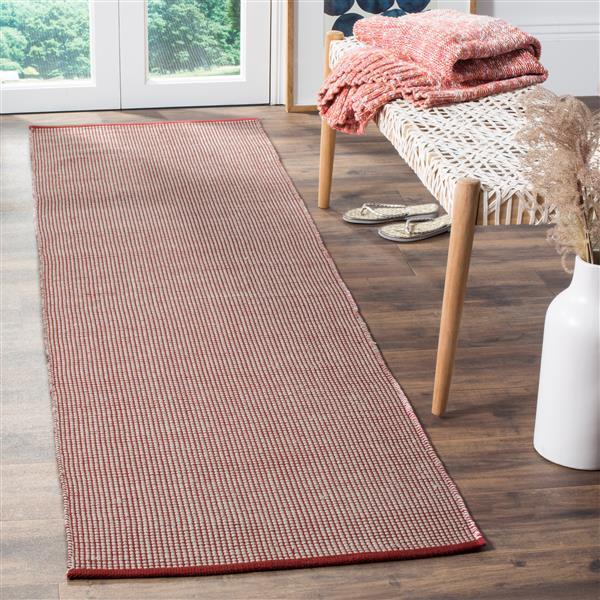 Safavieh Montauk Geometric Rug - 2.3' x 8' - Cotton - Ivory/Red