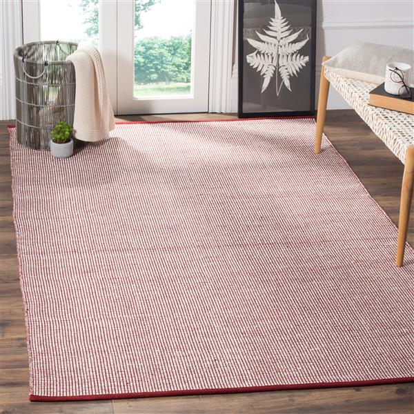 Safavieh Montauk Geometric Rug - 4' x 6' - Cotton - Ivory/Red