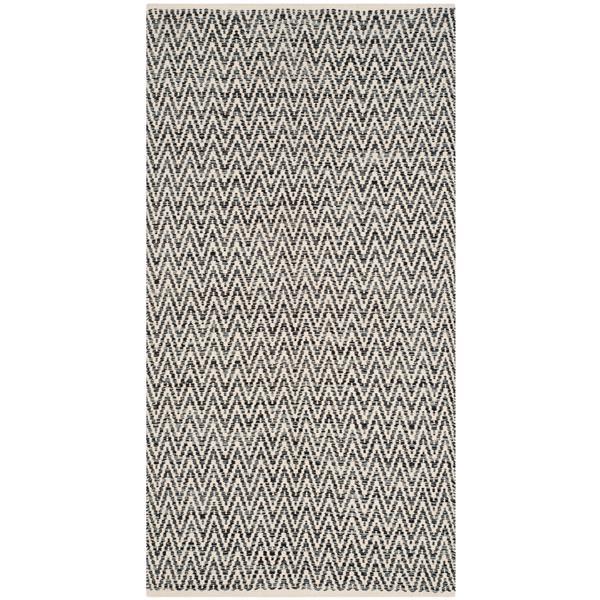 Safavieh Montauk Chevron Rug - 4' x 6' - Cotton - Ivory/Dark Gray