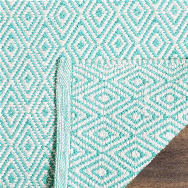 Safavieh Montauk Geometric Rug - 2.3' x 6' - Cotton - Ivory/Aqua