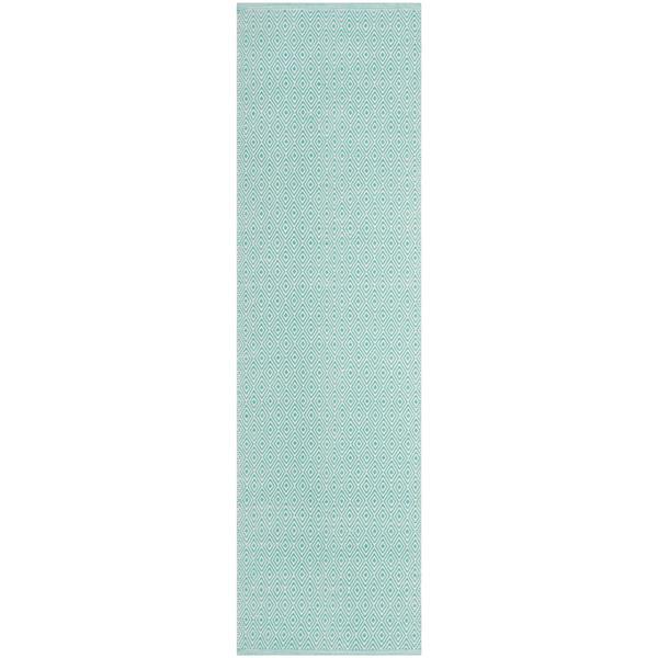 Safavieh Montauk Geometric Rug - 2.3' x 8' - Cotton - Ivory/Aqua