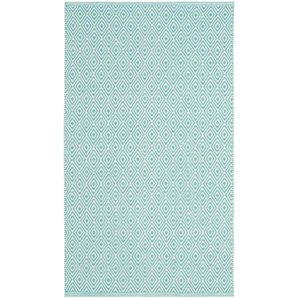 Safavieh Montauk Geometric Rug - 2.5' x 4' - Cotton - Ivory/Aqua