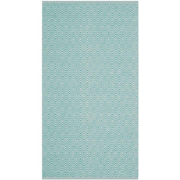 Safavieh Montauk Geometric Rug - 3' x 5' - Cotton - Ivory/Aqua
