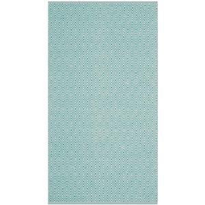 Montauk Geometric Rug - 3' x 5' - Cotton - Ivory/Aqua