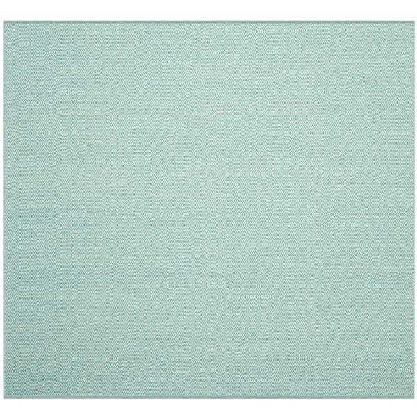 Safavieh Montauk Geometric Rug - 4' x 4' - Cotton - Ivory/Aqua