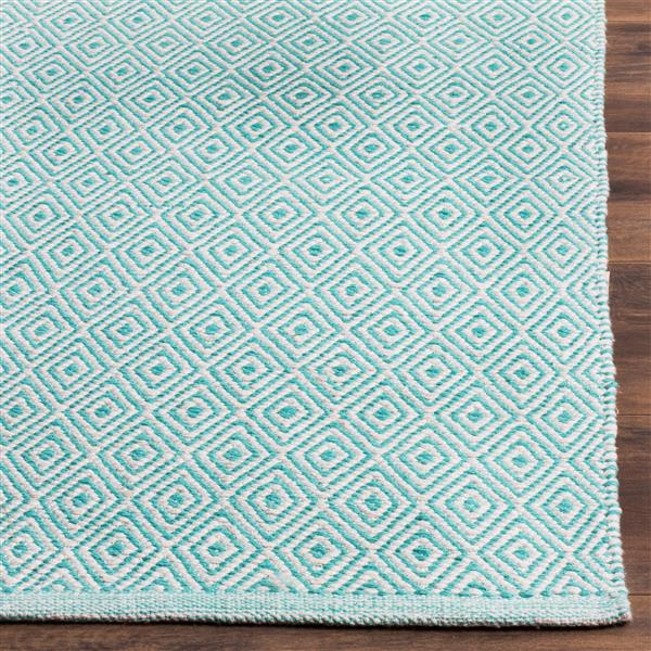 Safavieh Montauk Geometric Rug - 6' x 6' - Cotton - Ivory/Aqua