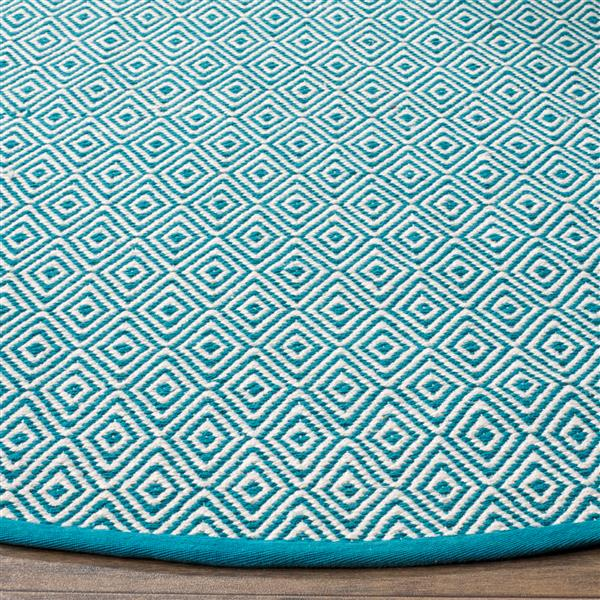 Safavieh Montauk Geometric Rug - 3' x 5' - Cotton - Ivory/Turquoise