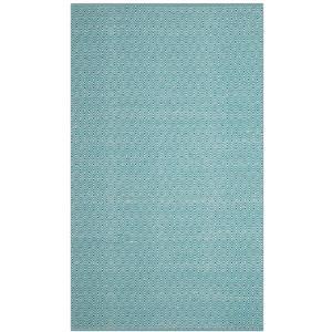 Montauk Geometric Rug - 4' x 6' - Cotton - Ivory/Turquoise