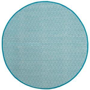Montauk Geometric Rug - 6' x 6' - Cotton - Ivory/Turquoise