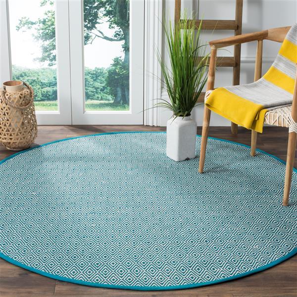 Safavieh Montauk Geometric Rug - 4' x 4' - Cotton - Ivory/Turquoise