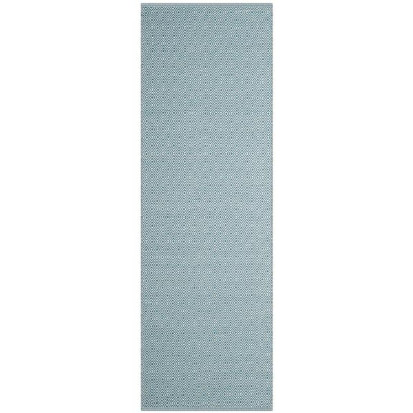 Safavieh Montauk Rug - 2.3' x 8' - Cotton - Ivory/Light Blue