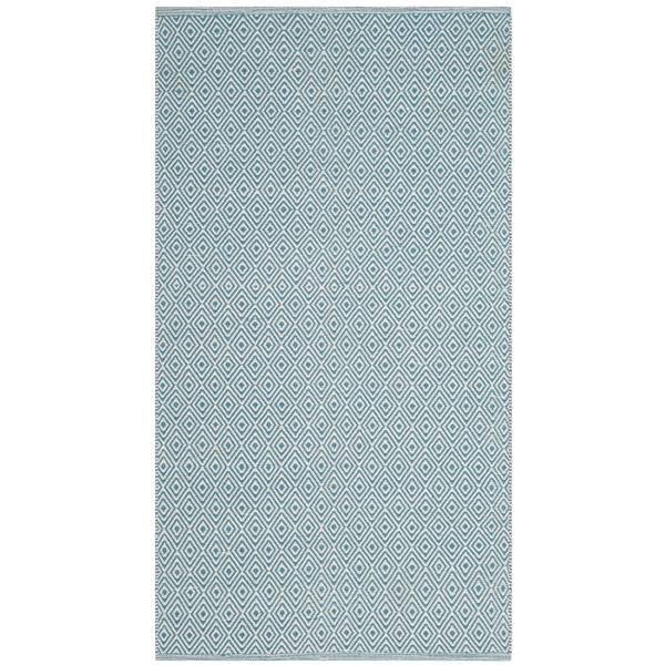 Safavieh Montauk Geometric Rug - 3' x 5' - Cotton - Ivory/Light Blue