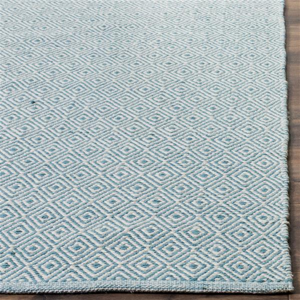 Safavieh Montauk Geometric Rug - 4' x 4' - Cotton - Ivory/Light Blue