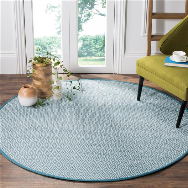 Safavieh Montauk Geometric Rug - 6' x 6' - Cotton - Ivory/Light Blue