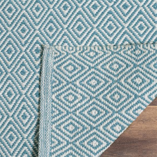 Safavieh Montauk Geometric Rug - 4' x 4' - Cotton - Ivory/Light Blue