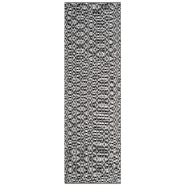 Safavieh Montauk Rug - 2.3' x 8' - Cotton - Ivory/Navy Blue