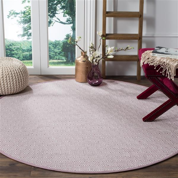 Safavieh Montauk Geometric Rug - 6' x 6' - Cotton - Ivory/Purple