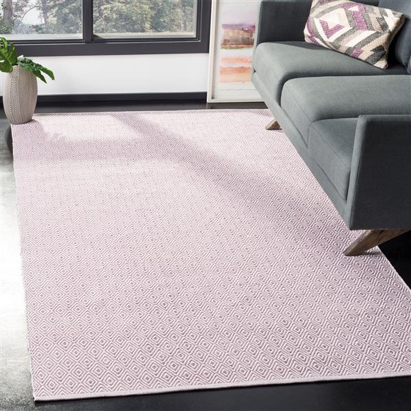 Safavieh Montauk Geometric Rug - 4' x 6' - Cotton - Ivory/Purple