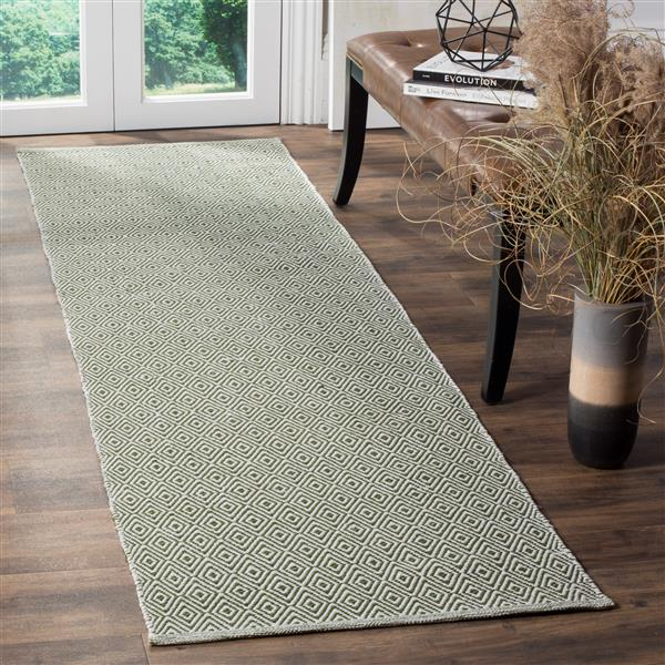 Safavieh Montauk Geometric Rug - 2.3' x 8' - Cotton - Ivory/Green