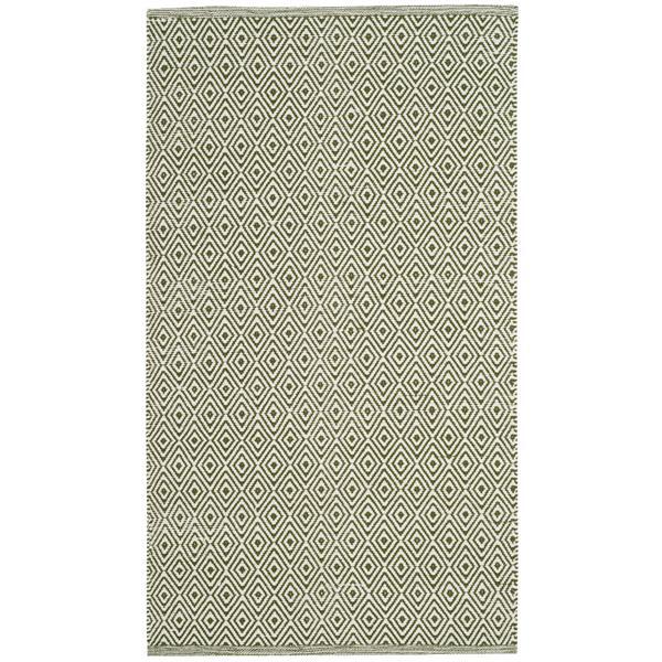 Safavieh Montauk Geometric Rug - 2.5' x 4' - Cotton - Ivory/Green