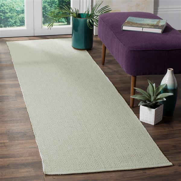 Safavieh Montauk Geometric Rug - 2.3' x 8' - Cotton - Ivory/Green