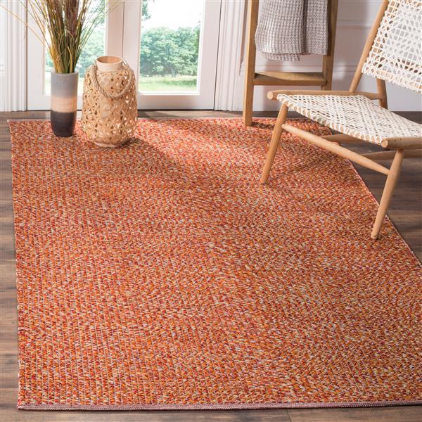 Safavieh Montauk Solid Rug - 3' x 5' - Cotton - Orange/Multi