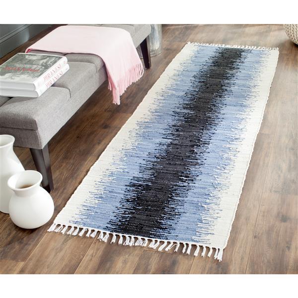 Safavieh Montauk Stripe Rug - 2.3' x 7' - Cotton - Gray/Black