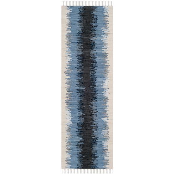 Safavieh Montauk Stripe Rug - 2.3' x 9' - Cotton - Gray/Black