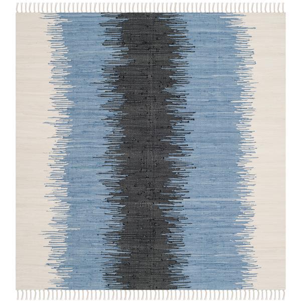 Safavieh Montauk Stripe Rug - 4' x 4' - Cotton - Gray/Black