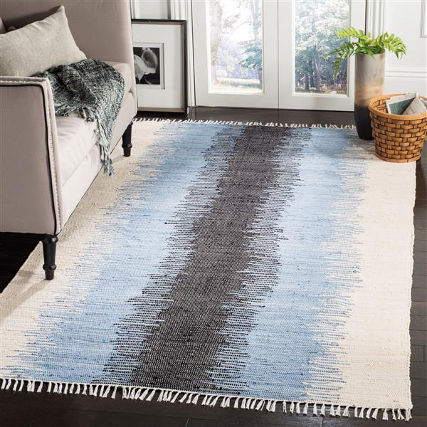 Safavieh Montauk Stripe Rug - 6' x 6' - Cotton - Gray/Black
