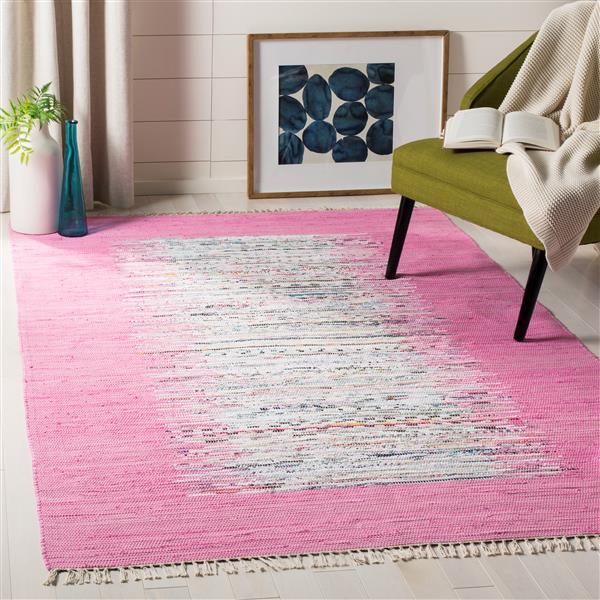 Safavieh Montauk Border Rug - 2.5' x 4' - Cotton - Ivory/Pink