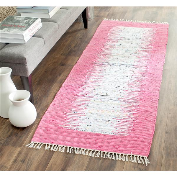 Safavieh Montauk Border Rug - 2.3' x 7' - Cotton - Ivory/Pink