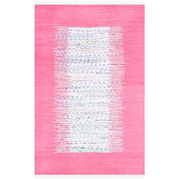Safavieh Montauk Border Rug - 4' x 6' - Cotton - Ivory/Pink