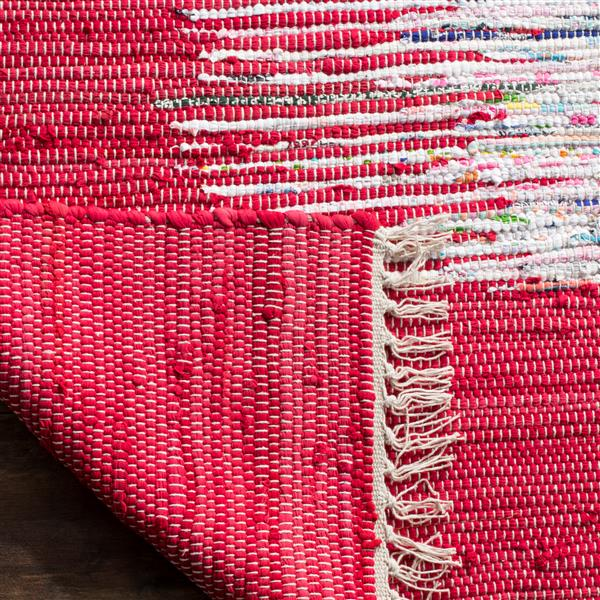 Safavieh Montauk Border Rug - 6' x 6' - Cotton - Ivory/Red