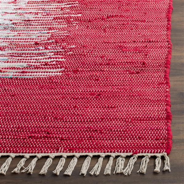 Safavieh Montauk Border Rug - 4' x 6' - Cotton - Ivory/Red