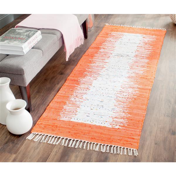 Safavieh Montauk Border Rug - 2.3' x 8' - Cotton - Ivory/Orange