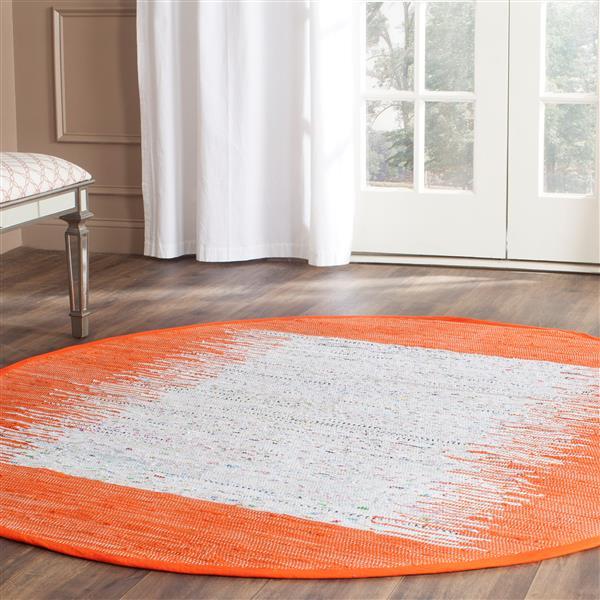 Safavieh Montauk Border Rug - 6' x 6' - Cotton - Ivory/Orange