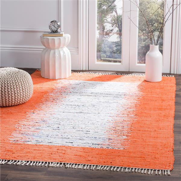 Safavieh Montauk Border Rug - 6' x 6' - Cotton - Ivory/Orange