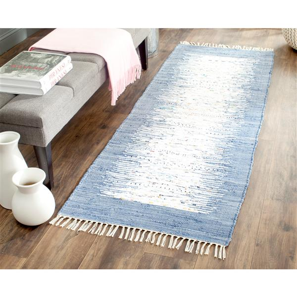 Safavieh Montauk Border Rug - 2.3' x 6' - Cotton - Ivory/Dark Blue