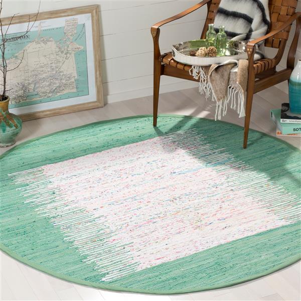 Safavieh Montauk Border Rug - 6' x 6' - Cotton - Ivory/Green