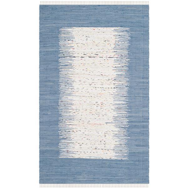 Safavieh Montauk Border Rug - 4' x 6' - Cotton - Ivory/Dark Blue